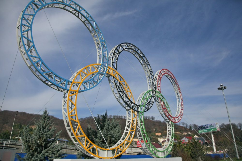 Olympic rings for the 2014 Winter Olympics in the Black Sea resort of Sochi, southern Russia. (AP)