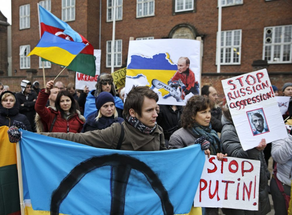 Sympathizers and Ukrainians living in Denmark demonstrated March 4. 2014 in front of the U.S. Embassy in Copenhagen. (Jens Dresling /POLFOTO) DENMARK OUT/AP)