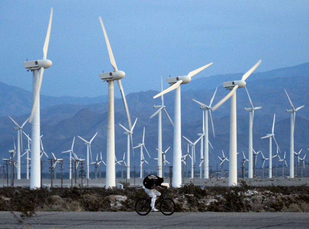 A man rids his bike against the win as giant wind turbines are powered by strong winds at sunset on March 27, 2013 in Palm Springs, California. (Kevork Djansezian/Getty Images)