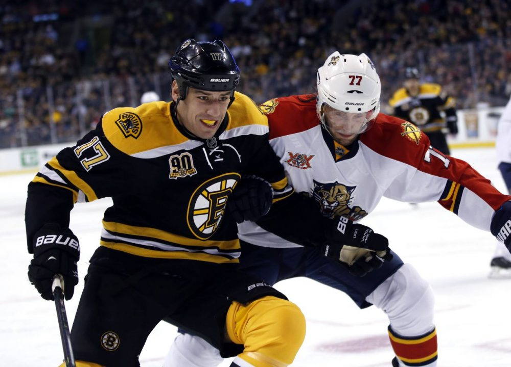 Boston Bruins defenseman Dougie Hamilton (27) dives to disrupt Florida Panthers right wing Brad Boyes (24) from moving toward the goal. (AP/Elise Amendola)