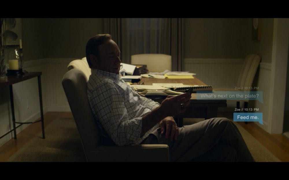 In the first season of the Netflix series House of Cards, text messages were featured as screen bubbles. The show's depiction of new technology became more complex in season two. (manybits/Flickr)