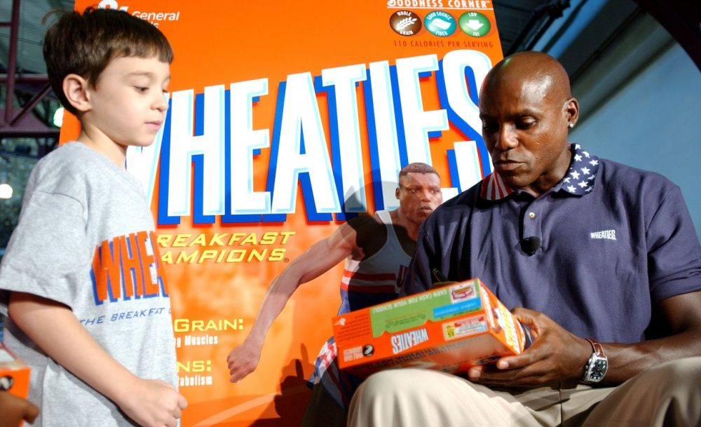 Kids would ask athletes like Carl Lewis to sign Wheaties boxes. (Stephen Chernin/Getty Images)