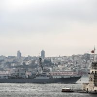 The 'USS Truxtun' destroyer passes the Bosphorus Strait on her way to the Black Sea on March 7, 2014 in Istanbul. Armed men at a checkpoint flying the Russian flag blocked OSCE observers from entering Ukraine's flashpoint Crimean peninsula for a second day on Friday, an AFP reporter said. (Bulent Kilic/AFP/Getty Images)
