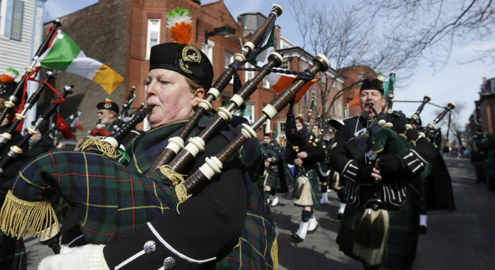 Members of the Catamount Pipe Band performing in the St. Patrick's Day parade, in Boston's South Boston neighborhood, March 17, 2013. (Steven Senne/AP)