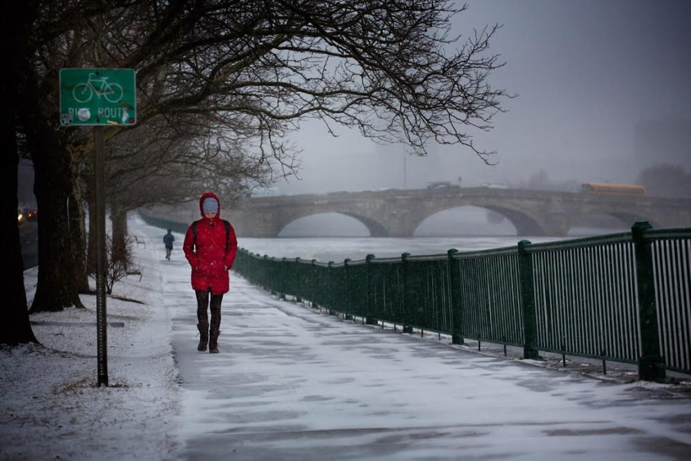 Woman walks on Memorial Drive along the Charles River. (Jesse Costa/WBUR)