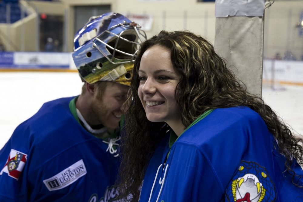 After winning a gold medal in Sochi as a member of the Canadian national team, Shannon Szabados signed with the Columbus Cottonmouths, a men's team in the Southern Professional Hockey League. (Todd Kirkland/Getty Images)
