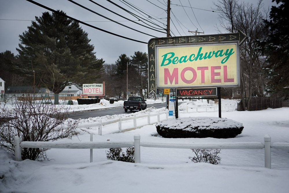 The Beachway and the Knotty Pine Motels on Beach Road are accustomed to hosting vacationers during the summer. Cheaper, weekly rates during the winter months attract a different transient population to the area. (Jesse Costa/WBUR)