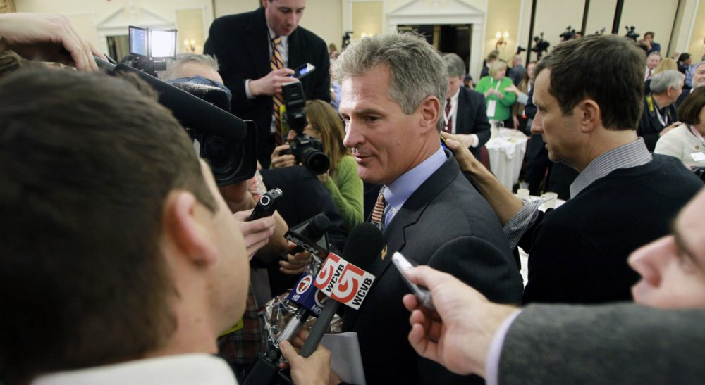 "The former Massachusetts senator sets his sights on the granite state. But beyond his reflexive renunciation of ""Obamacare,"" what exactly does he stand for? In this photo, Brown is pictured after announcing plans to form an exploratory committee to enter New Hampshire's U.S. Senate race against Democratic Sen. Jeanne Shaheen, Friday, March 14, 2014 in Nashua, N.H. (Jim Cole/AP)"