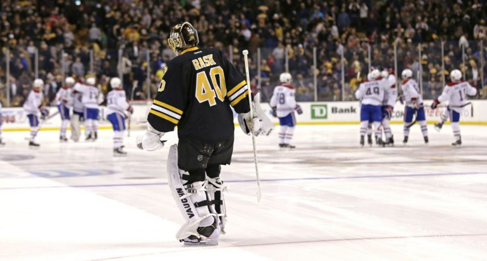 Boston Bruins goalie Tuukka Rask (40) skates to the bench after giving up the game winning goal by Montreal Canadiens center Alex Galchenyuk. (Charles Krupa/AP)