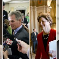Paul E. Fallon: If I donate money to chip away at super PAC clout, I'm helping ensure that big money determines election outcomes. L-R, Elizabeth Warren, Scott Brown, Jeanne Shaheen, Karl Rove. (All photos/AP)