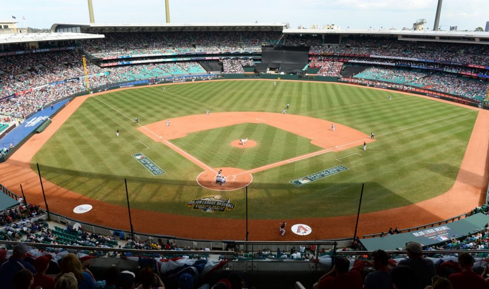The Sydney Cricket Ground in Australia -- and its sizeable foul territory -- hosted the Los Angeles Dodgers and the Arizona Diamondbacks to open the MLB season. (William West/AFP/Getty Images)