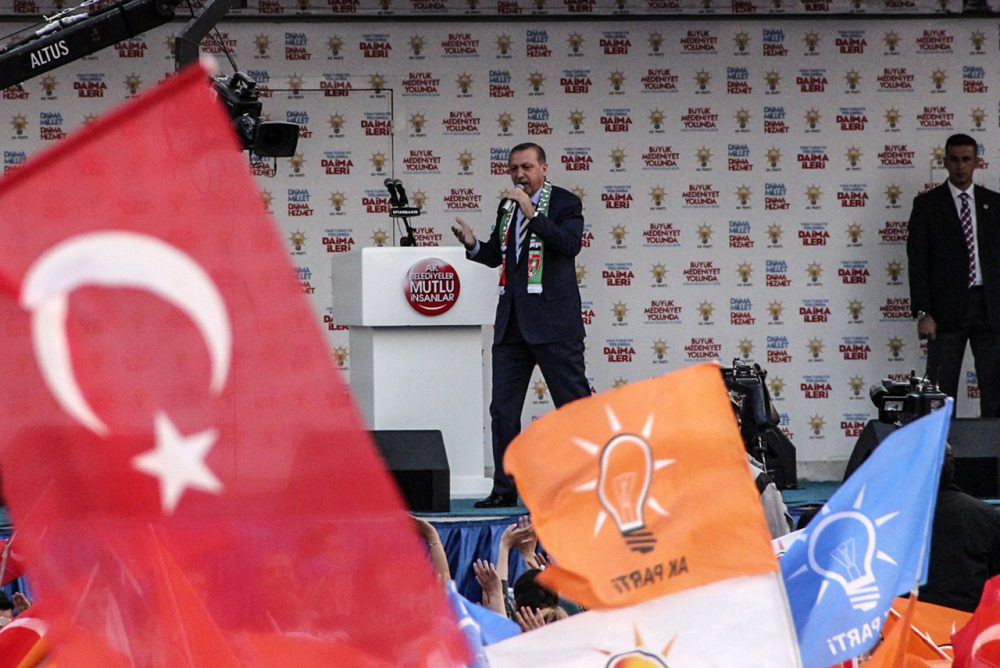 Turkish prime minister Recep Tayyip Erdogan speaks during a meeting in Diyarbakir on March 27. Edogan's AK party and the opposing CHP party have both warned voters to be wary of ballot fraud in local elections on Sunday, March 30. (Ilyas Akengin/AFP/Getty Images)