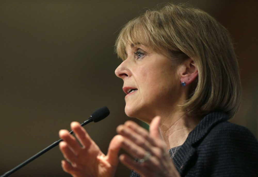 In this January 2014 photo, Massachusetts Attorney General Martha Coakley addresses a breakfast meeting of the Greater Boston Chamber of Commerce at a hotel in Boston. Coakley, a Democrat, is seeking the governor's office in the 2014 election. (Steven Senne/AP)