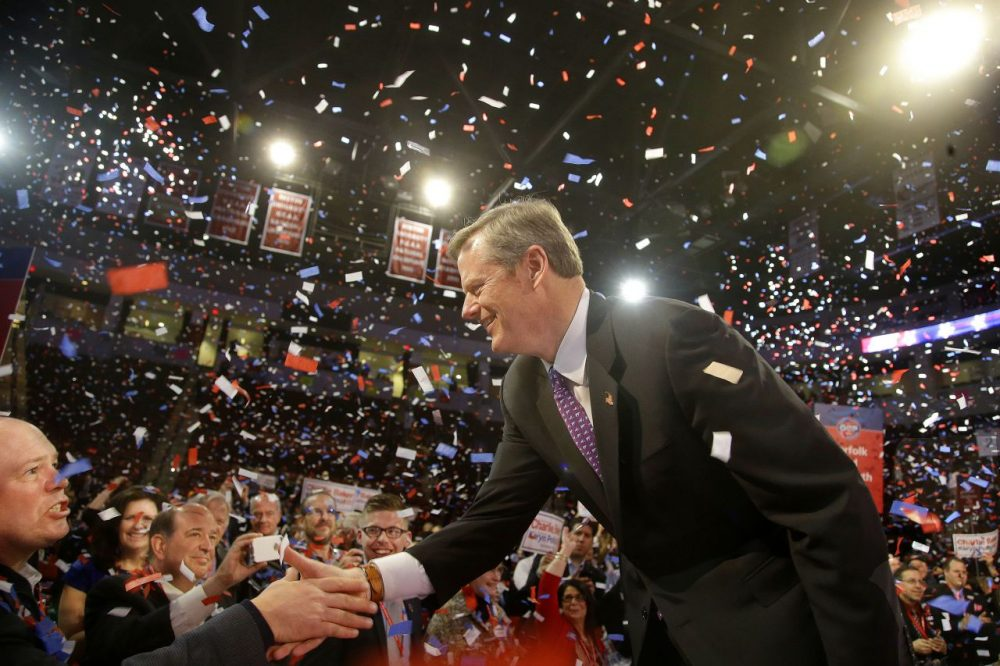 Charlie Baker the frontrunner and favorite in the Republican nomination process for governor greets a supporter after accepting the party's nomination at the Massachusetts Republican State Convention in Boston, Saturday, March 22, 2014. (Stephan Savoia/AP)