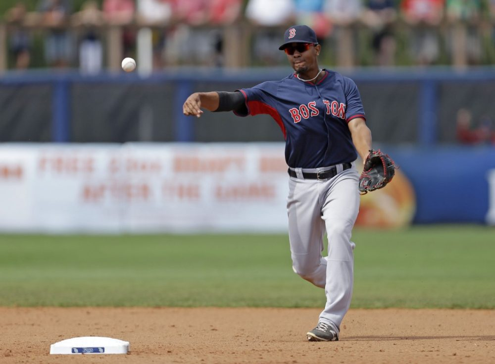 Boston Red Sox shortstop Xander Bogaerts (2) fields a ground out by Tampa Bay Rays Wilson Betemit during an exhibition baseball game in Port Charlotte, Fla., Tuesday, March 25, 2014. The Red Sox won 4-2. (AP)