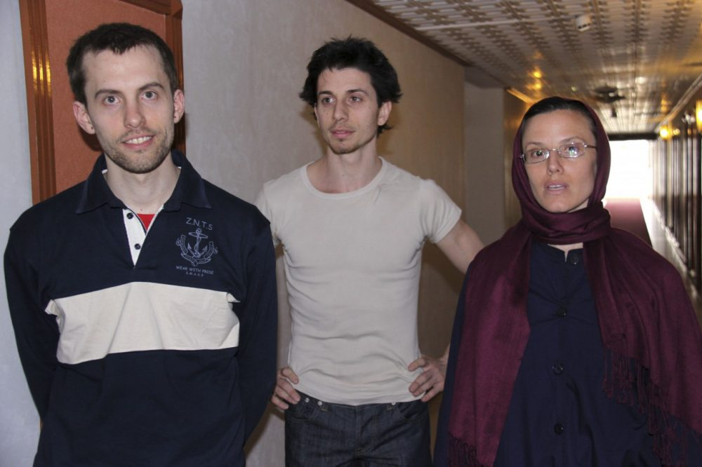 American hikers Shane Bauer, Josh Fattal and Sarah Shourd prior to meeting with their mothers at the Esteghlal hotel in Tehran on May 21, 2010. (AP/Press TV)