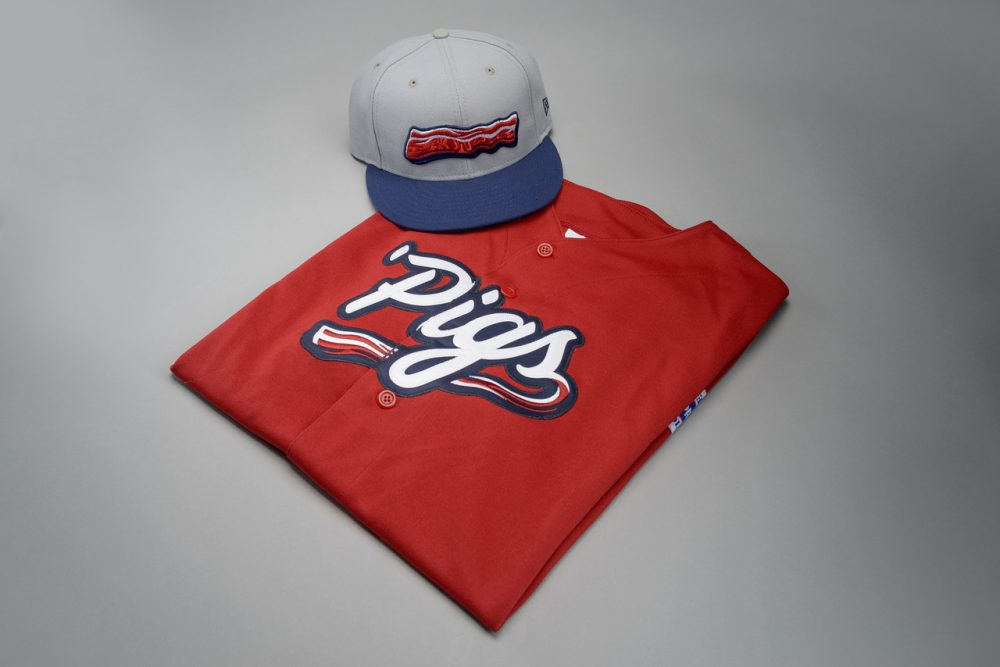 Bacon detailing is all over the IronPigs new Saturday uniforms. (Courtsey of IronPigs)