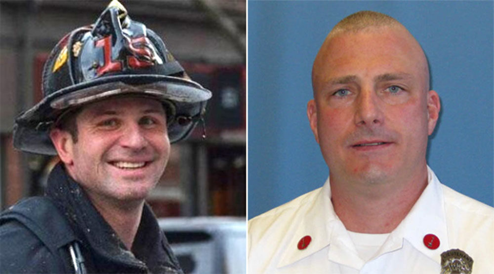 Firefighter Michael Kennedy, left, and Lt. Edward Walsh died in a apartment blaze in March 2014. (Courtesy)