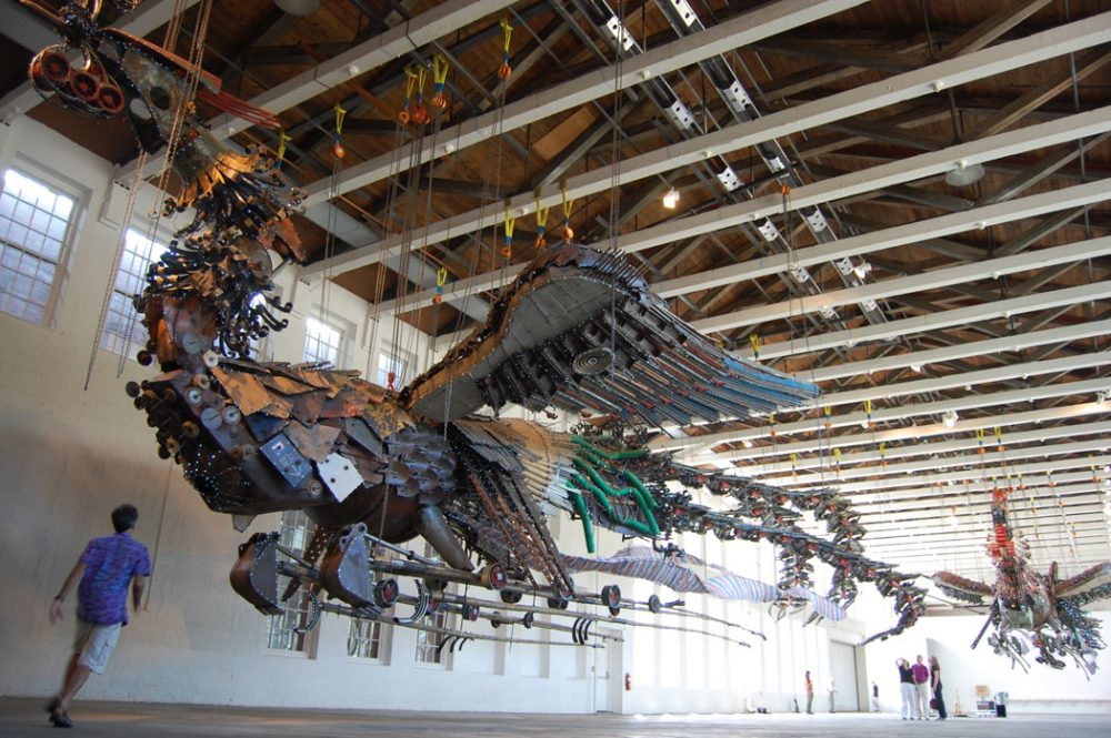 "Xu Bing's ""Phoenix"" on view in the football field-size gallery of MASS MoCA's signature Building 5 last summer. (Greg Cook)"