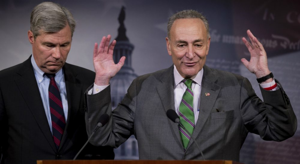 John Winters: To anyone who favors the general Democratic platform, it's time to dig deep and pump in that filthy lucre. In this photo, Sen. Charles Schumer, D-N.Y., right, accompanied by Sen. Sheldon Whitehouse, D-R.I., speak to reporters on Capitol Hill in Washington, Wednesday, April 2, 2014, about the Supreme Court's decision in the McCutcheon v. FEC case,  in which the Court struck down limits in federal law on the aggregate campaign contributions individual donors may make to candidates, political parties, and political action committees. (Manuel Balce Ceneta/AP)