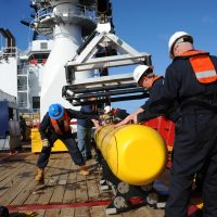 An Artemis autonomous underwater vehicle (AUV) is hoisted back on board the Australian Defence Vessel Ocean Shield, on of the ships currently searching for the wreckage of Malaysia Airlines Flight 370 in the Indian Ocean. There is added pressure to find the plane in the coming days as the black box batteries are dying. (Mass Communication Specialist 1st Class Peter D. Blair/U.S. Navy via Getty Images)