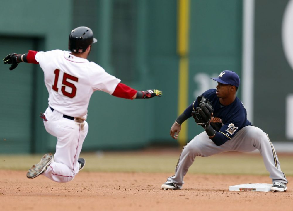 Milwaukee Brewers' Jean Segura waits for the throw as Boston Red Sox's Dustin Pedroia (15) attempts to steal second base in the sixth inning of a baseball game in Boston, Friday, April 4, 2014. Pedroia was out on the play.  (Michael Dwyer/AP)