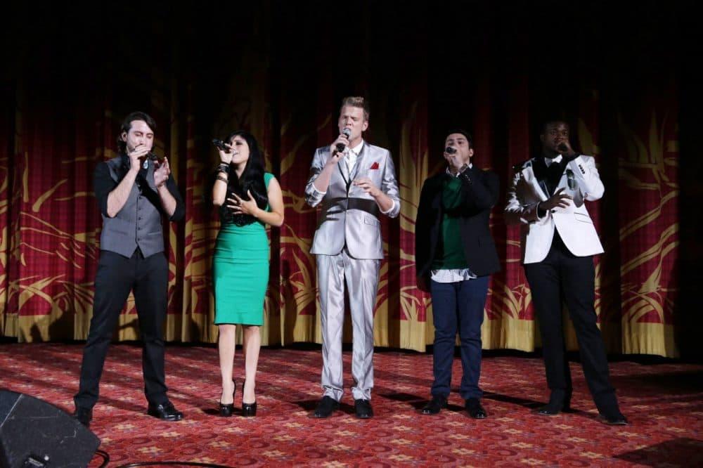 Pentatonix seen at Warner Bros. world premiere screening of The Wizard of Oz in IMAX 3D. (Eric Charbonneau/AP)