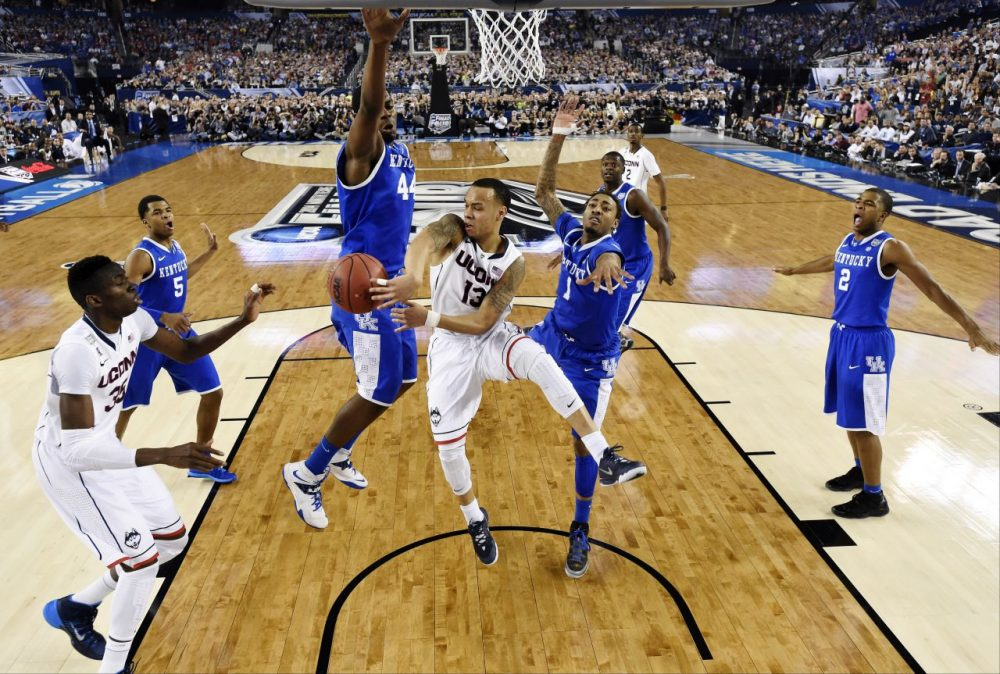 UConn point guard Shabazz Napier (13) scored 22 points in the Huskies' win. (Chris Steppig/AP)