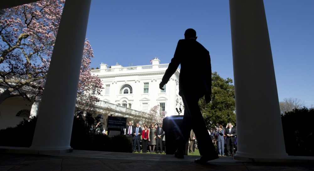 President Barack Obama arrives in the Rose Garden, Tuesday, April 1, 2014,  to trumpet 7.1 million signups under the Affordable Care Act. (Carolyn Kaster/AP)