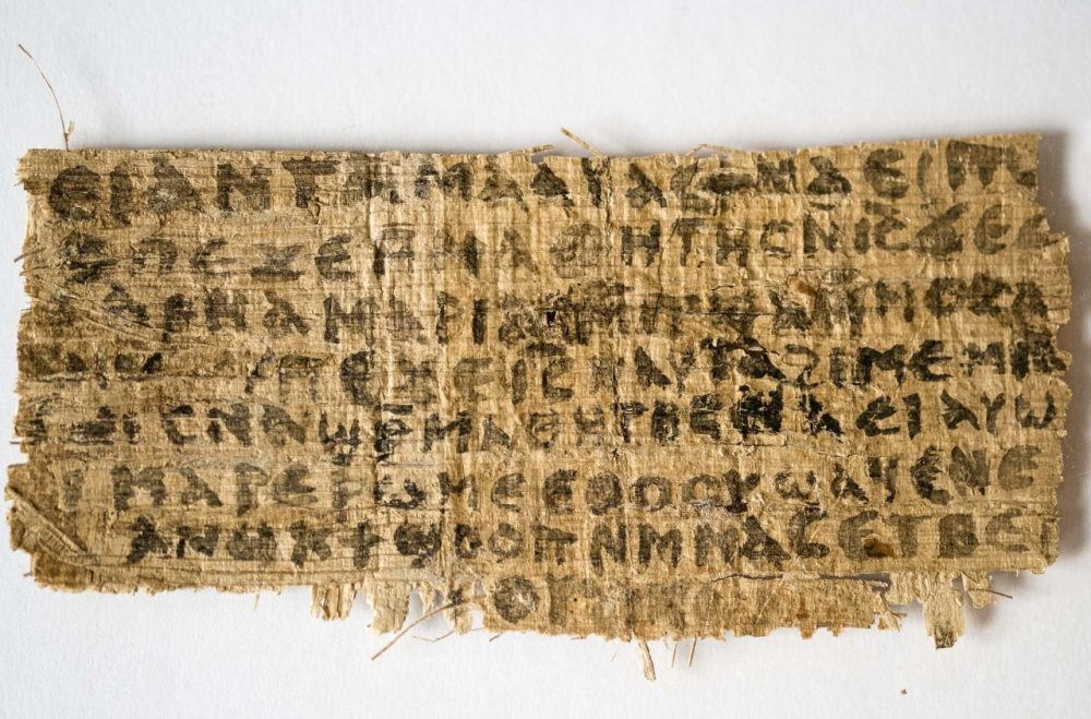 New testing finds that this piece of papyrus, which refers to Jesus speaking of a wife, is very likely an ancient document. (Harvard University, Karen King/AP)
