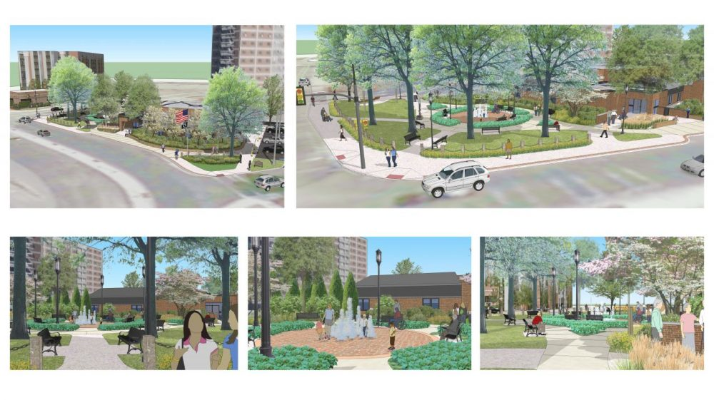 The garden commemorating marathon bombing victims will include a central seating area and five fountains. (Courtesy Shadley Associates)
