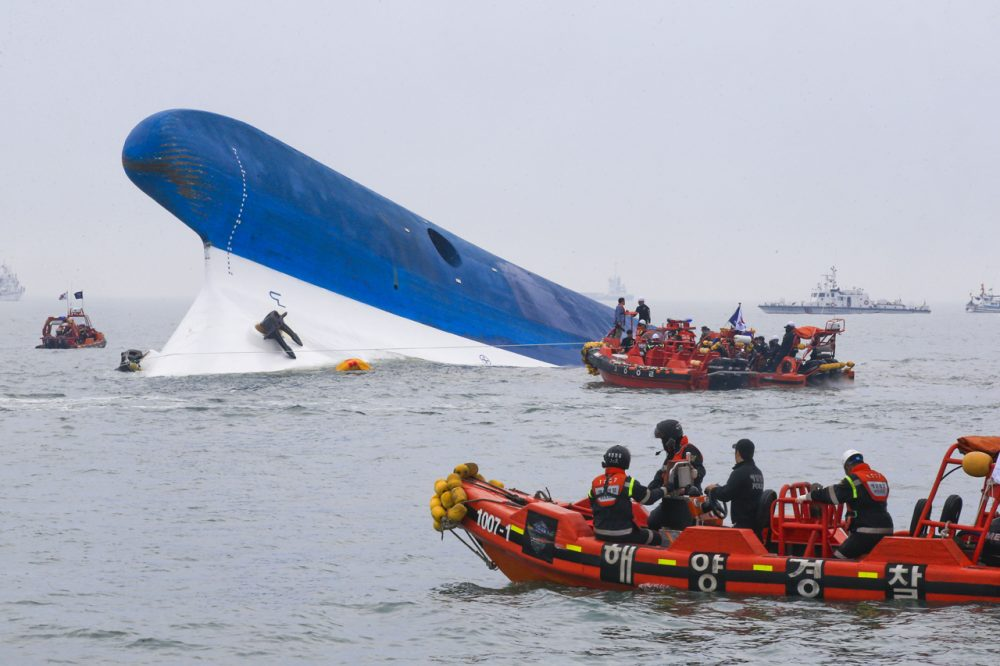 In this handout provided by Donga Daily, The Republic of Korea Coast Guard work at the site of ferry sinking accident off the coast of Jindo Island on April 16, 2014, in Jindo-gun, South Korea. (Park Young-Chul/Donga Daily via Getty Images)