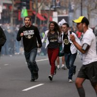 William Powers: What the Marathon attacks taught me about the relationship between modern technology and being human. In this photo, people react to the explosions at the 2013 Boston Marathon in Boston, Monday, April 15, 2013. (The Daily Free Press, Kenshin Okubo/AP)
