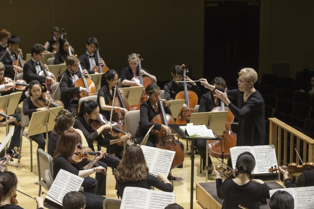 Conductor Ann Howard Jones and the Boston University College of Fine Arts dedicated their spring concert to the victims of last year's Boston Marathon bombing. (Courtesy Michael Lutch)