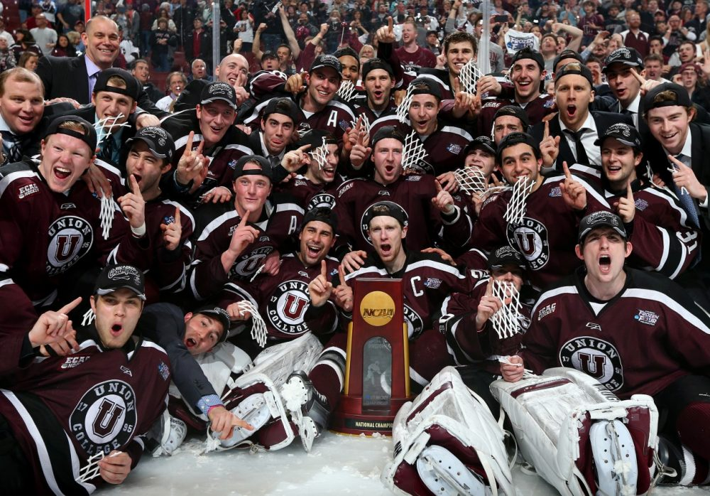 Union College knocked off Minnesota to take home the NCAA Championship trophy. ( Elsa/Getty Images)