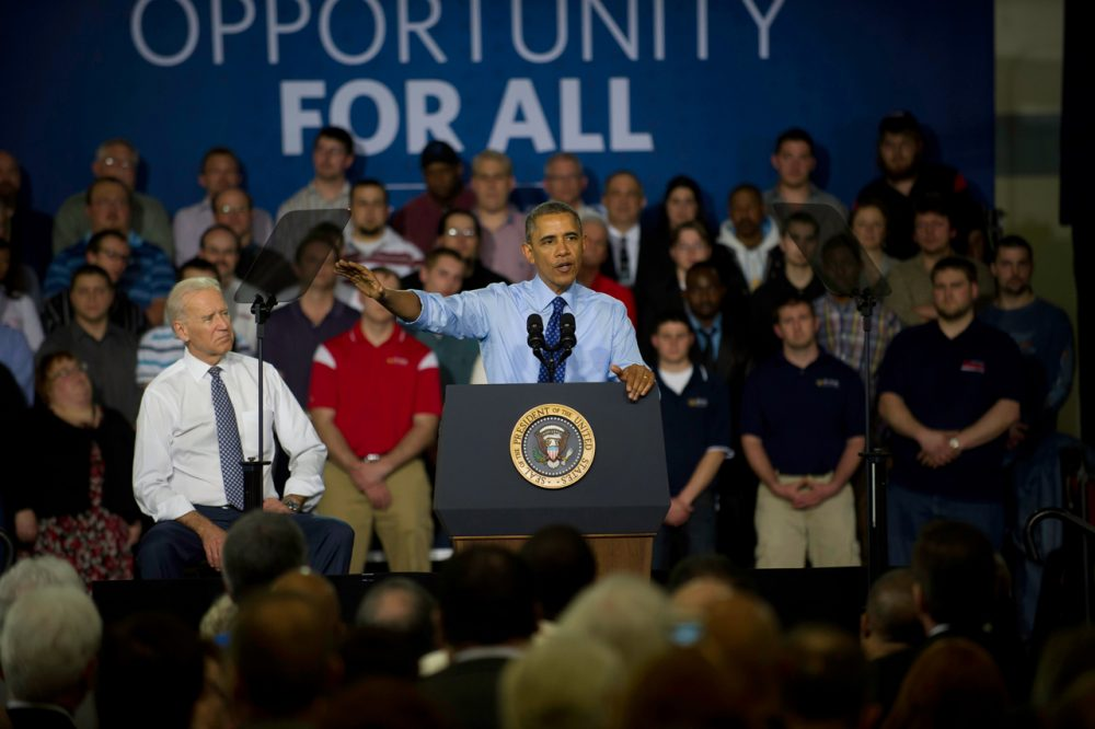 U.S. President Barack Obama and Vice President Joe Biden speak to guests at the Community College of Allegheny County on April 16, 2014 in Oakdale, Pennsylvania. The president and vice president are announcing new federal investments using existing funds to support job-driven training, like apprenticeships, that will expand partnerships with industry, businesses, unions, community colleges, and training organizations to train workers in the skills they need. (Jeff Swensen/Getty Images)