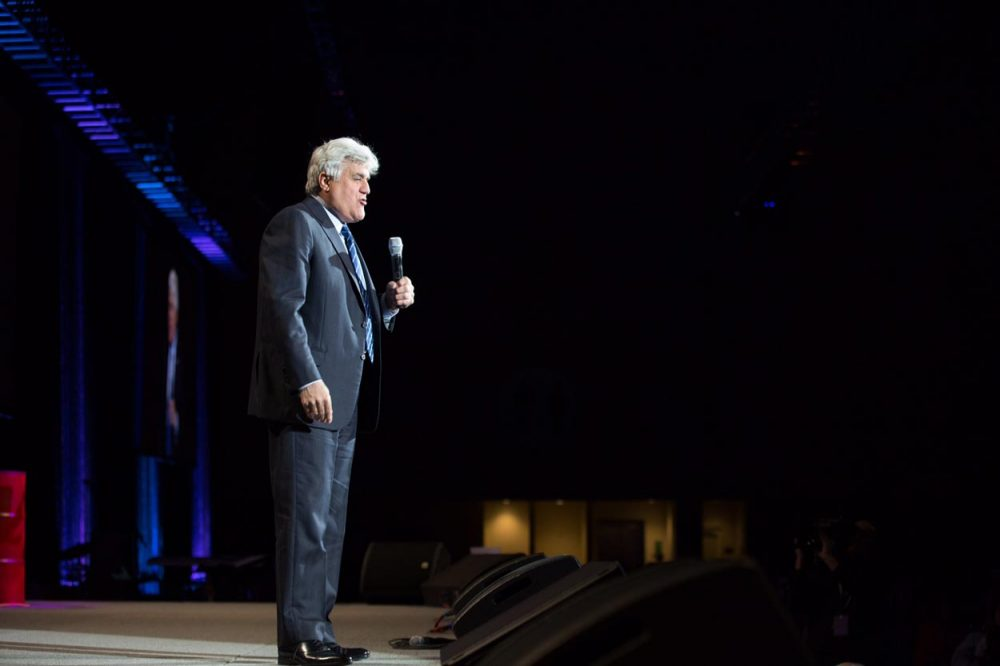 Jay Leno performs in Grand Rapids, Mich. last month. (Gilda's LaughFest via AP)