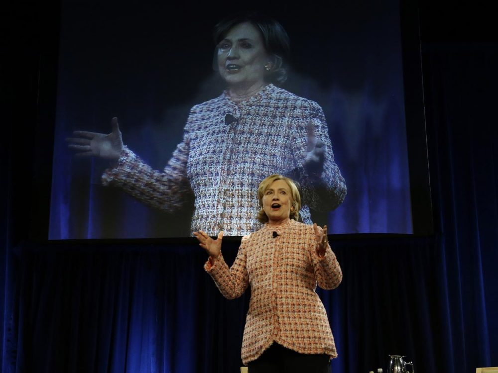 Former Secretary of State Hillary Clinton made no direct reference to any presidential ambitions in her speech Wednesday, but it hardly seemed necessary. (Stephan Savoia/AP)