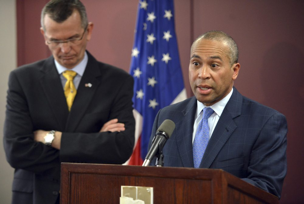 Gov. Deval Patrick, who had earlier defended DCF chief Olga Roche, said it was clear now that Roche had the expertise to do her job but no longer had the support of the public or her staff. (Josh Reynolds/AP