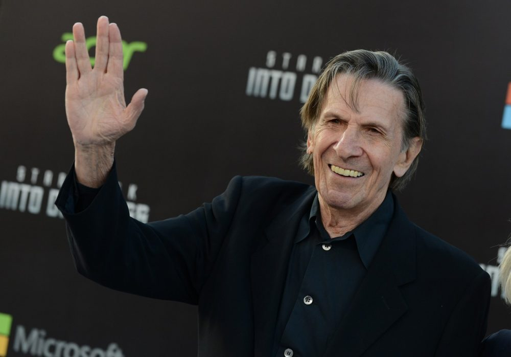 """Leonard Nimoy arrives at the LA premiere of """"Star Trek Into Darkness"""" at The Dolby Theater on Tuesday, May 14, 2013 in Los Angeles. (Jordan Strauss/Invision/AP)"""