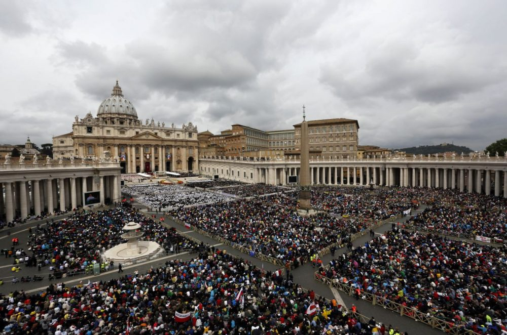 Faithful gather in St. Peter's Square at the Vatican Sunday. (Alessandra Tarantino/AP)