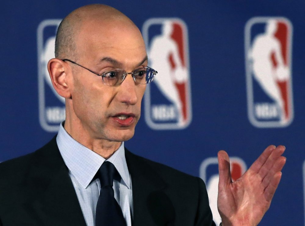 NBA commissioner Adam Silver gestures as he announces that the NBA will ban NBA Clippers owner Donald Sterling from the sport for life and slapped Sterling with a $2.5 million fine for racist remarks heard on a video and subsequently investigated by the NBA, Tuesday, April 29, 2014, in New York. (AP)