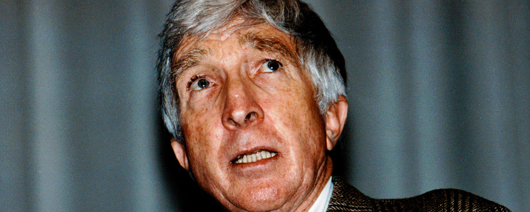In this Oct. 23, 1990 file photo, author John Updike, speaks at a lecture at the Boston Public Library. (AP)