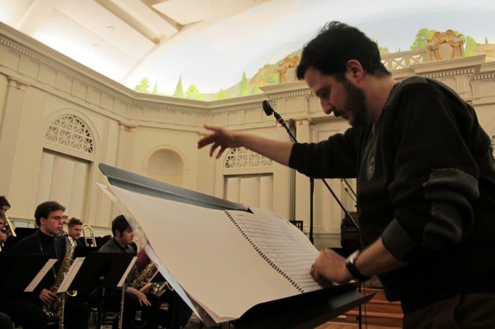 Mehmet Ali Sanlikol at rehearsal in Roslindale, Mass. (WBUR/Tim Skoog)
