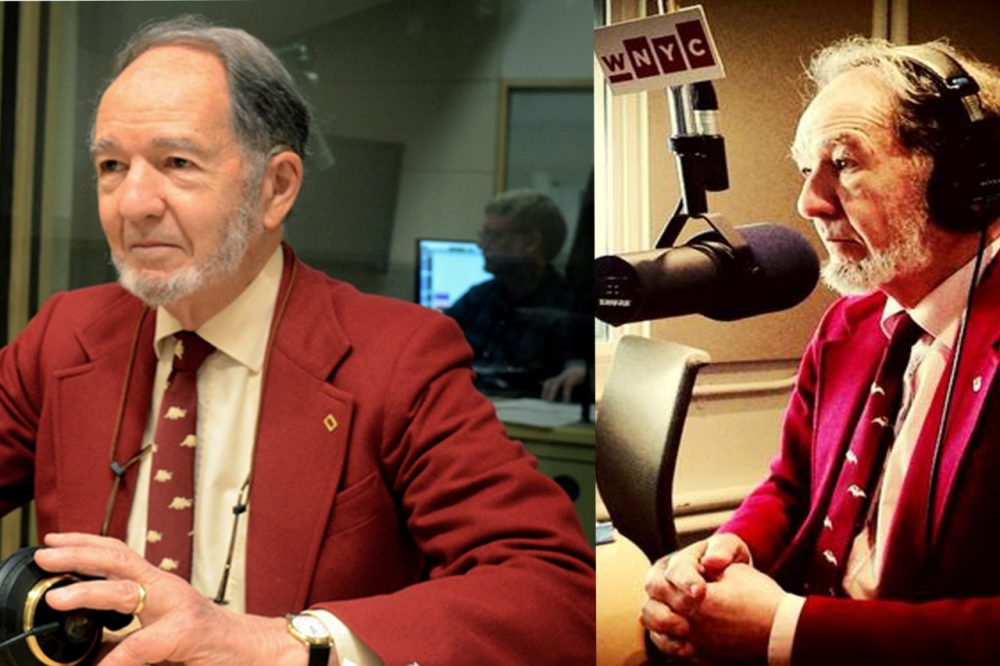 """Don't be alarmed: author Jared Diamond appears to have a """"public radio"""" outfit that he wears with great regularity. We approve. (WBUR / Robin Lubbock / WNYC)"""