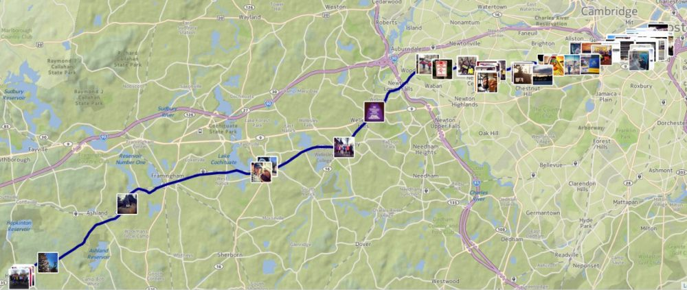 A real time map of Tweets and Instagrams from along the 26.2-mile course. Share yours with hashtag #BostonMarathon.