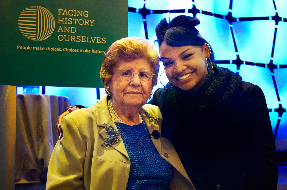 Rena Finder (left) has been teaching thousands of students like Asia Suttles (right) about the Holocaust through the program Facing History and Ourselves. (Gabrielle Emanuel/WBUR)