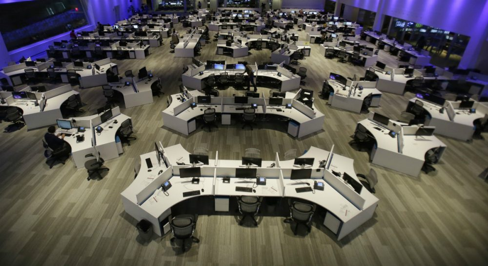"Is ""breaking news"" broken? In this Tuesday, Aug. 20, 2013 photo, a large newsroom for the Fusion TV network in Miami is pictured. (Wilfredo Lee/AP)"