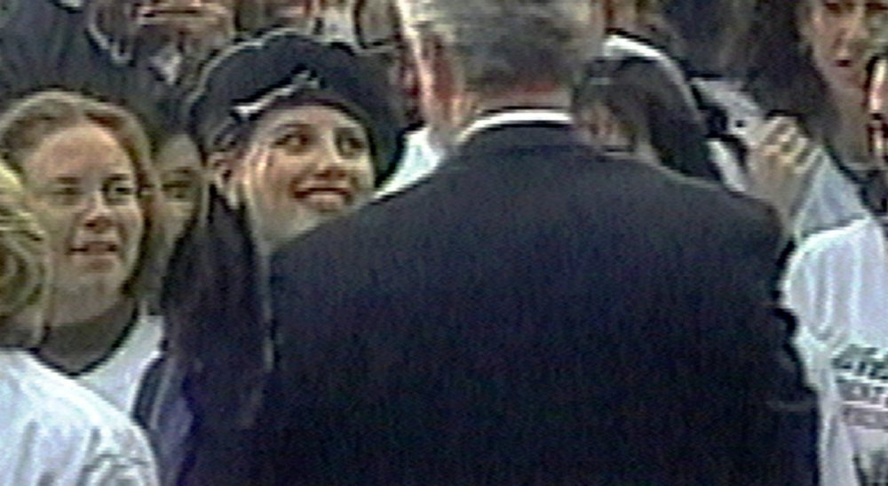 Monica Lewinsky has penned a new piece about her relationship with President Clinton. This has Steve Almond thinking about the use and abuse of the former White House intern -- and what it says about us. In this image taken from video, Lewinsky (wearing beret) smiles at Clinton as he greets well-wishers at a White House lawn party in Washington Nov. 6, 1996. (AP)