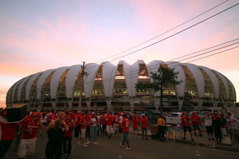 The Beira-Rio stadium is one of the buildings that has been completed, but many are disappointed with Rio's unfulfilled promises for the upcoming World Cup. (Lucas Uebel/AFP/Getty Images)